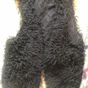 Free People Black Fuzzy Vest